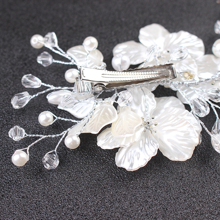 SLBRIDAL Handmade Silver Crystal Pearsl Flower Leaf Wedding Hair Clip Barrettes Bridal Headpieces Hair accessories Women Jewelry in Hair Jewelry from Jewelry Accessories