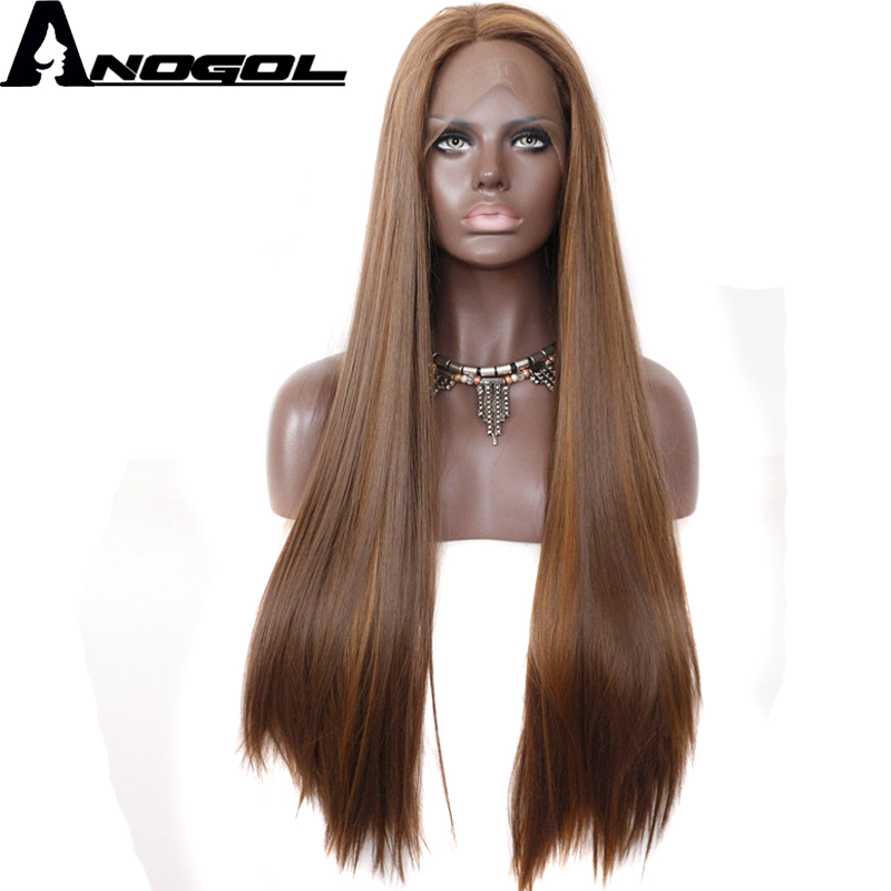 Anogol High Temperature Fiber Brazilian Hair Full Peruca Dark Brown Wigs Long Straight Orange Synthetic Lace