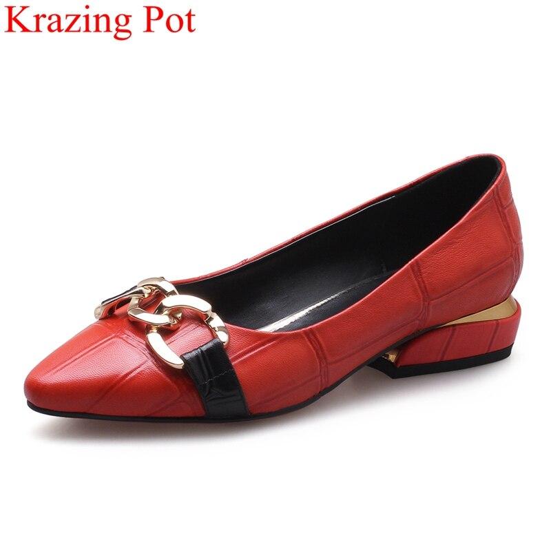 2018 mode kuh leder concise flach frauen pumpen spitz elegante low heels auf metall reife büro dame schuhe l8f1-in Damenpumps aus Schuhe bei  Gruppe 1