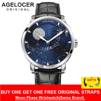 2020 New Agelocer Luxury Brand Blue Automatic Watches Men Moon Phase Power Reserve Mechanical Watch relogio masculine 6404A1