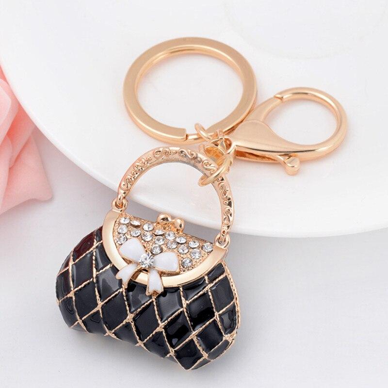 2017 New Creative Handbag Keychains Fashion Key Chain Women Bow tie Drip Oil Bag Charm Pendant Car Key Ring Lady Keyring Gifts