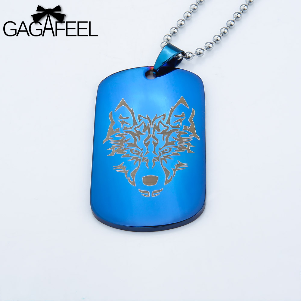 b41dc6db61 GAGAFFEL Army Necklace Pendant Engraving Customized Logo Necklace Mlitary  Blue Dog Tags Stainless Steel Necklace Men Jewelry