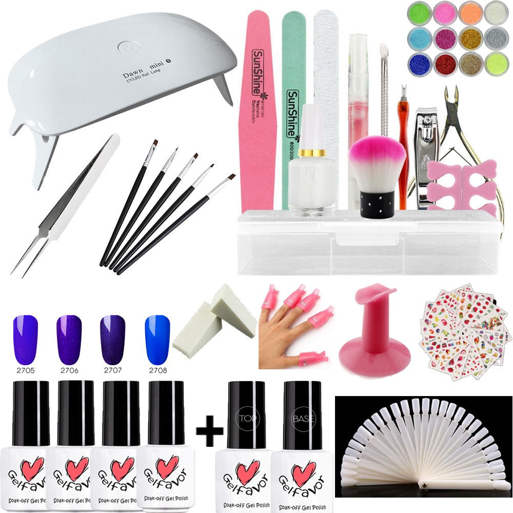 Nail art set5W UV LED LAMP Dryer 4 Color 7ml gel Nail Polish set kit Nail Tools gel Varnish Lacquer Manicure Tools kit