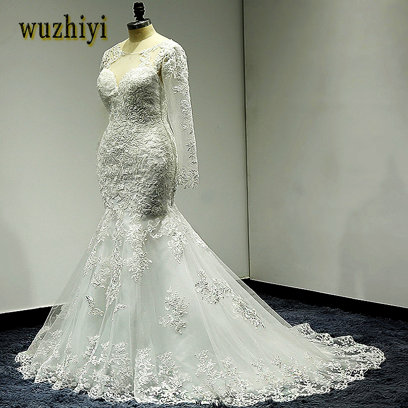 Wuzhiyi Mermaid Wedding Dress Long Wedding Gown Cap Sleeve Gown Sccop Vestido De Noiva Lace Trumpet Beading Dress Robe De Mariee
