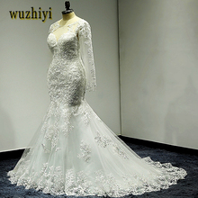 wuzhiyi mermaid wedding dress Long wedding Gown Cap Sleeve gown Sccop vestido de noiva lace trumpet