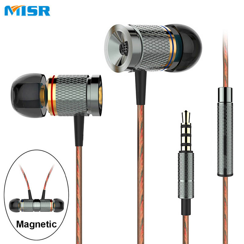 MISR XD3 Wired In-Ear Earphone Metal Headset Magnetic with Mic Microphone Stereo Bass for Phone iphone samsung huawei xiaomi stereo 3 5mm in ear earphones high quality metal bass headset with microphone for mobile phone iphone xiaomi huawei