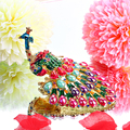 3.5'' Metal Peacock Figurine Women Ring Jewelry Holder Trinket Box Stand Box Storage Wedding Jewelry Display Case Christmas Gift