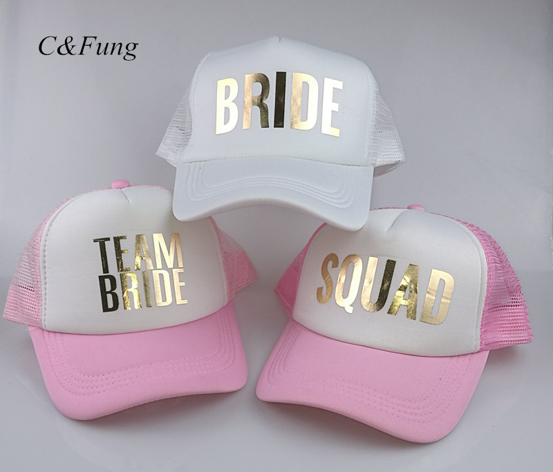 C&Fung SQUAD BRIDE TEAM BRIDE trucker hats basebal Caps for wedding party gold glitter pink mesh hats Summer style