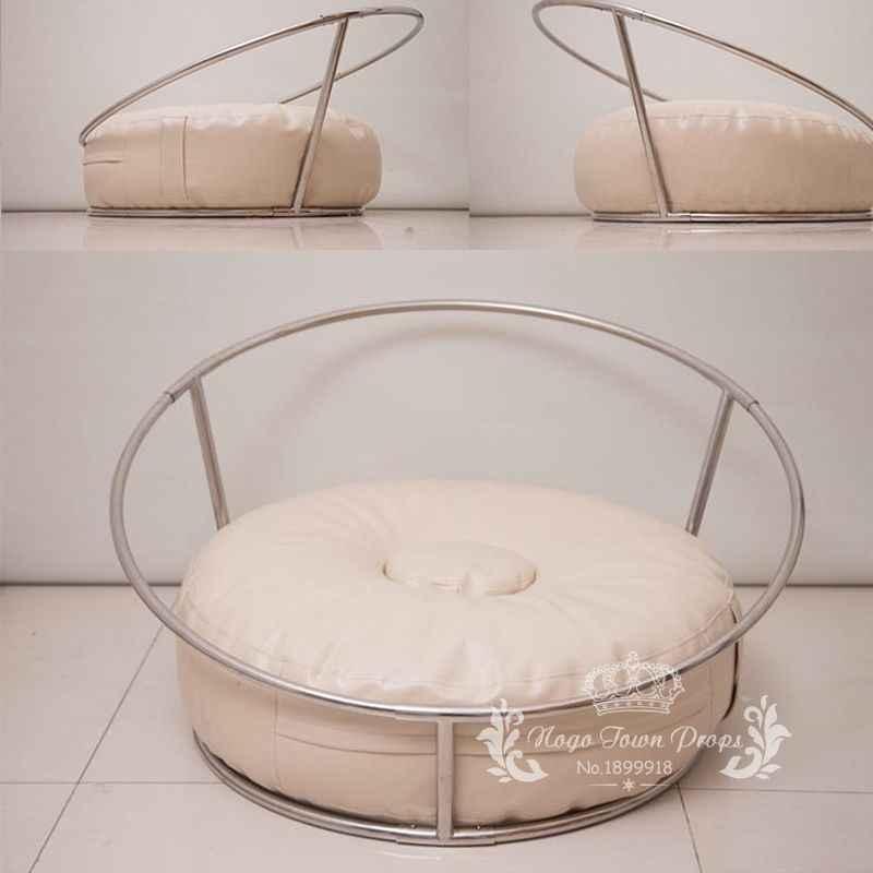 Fotografia recém-nascidos adereços do bebê flokati foto tiro acessórios cesta para estúdio 85 cm tamanho grande saco de feijão + ninho prateleira redonda