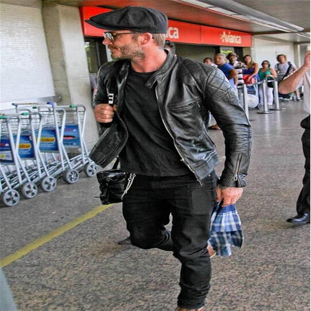 2017 New Arrivals David Beckham Same Stye Real Leather Jacket Big Size 5XL Men Vintage Fashion Motorcycle Jacket   A3079