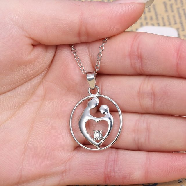 Online shop mother son baby daughter pendant necklaces new mother son baby daughter pendant necklaces new mothers day gift silver plated for women aloadofball Gallery