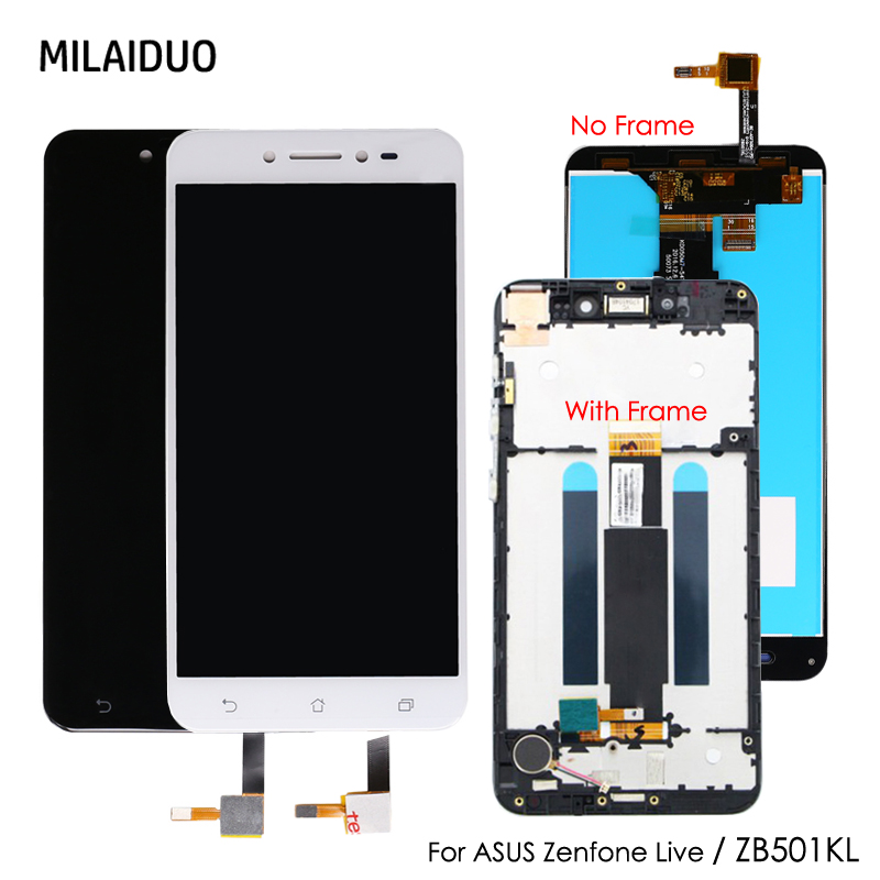 Original LCD Display For Asus Zenfone Live ZB501KL X00FD A007 Touch Screen Digitizer Panel Assembly With Frame 5.0'' Black White