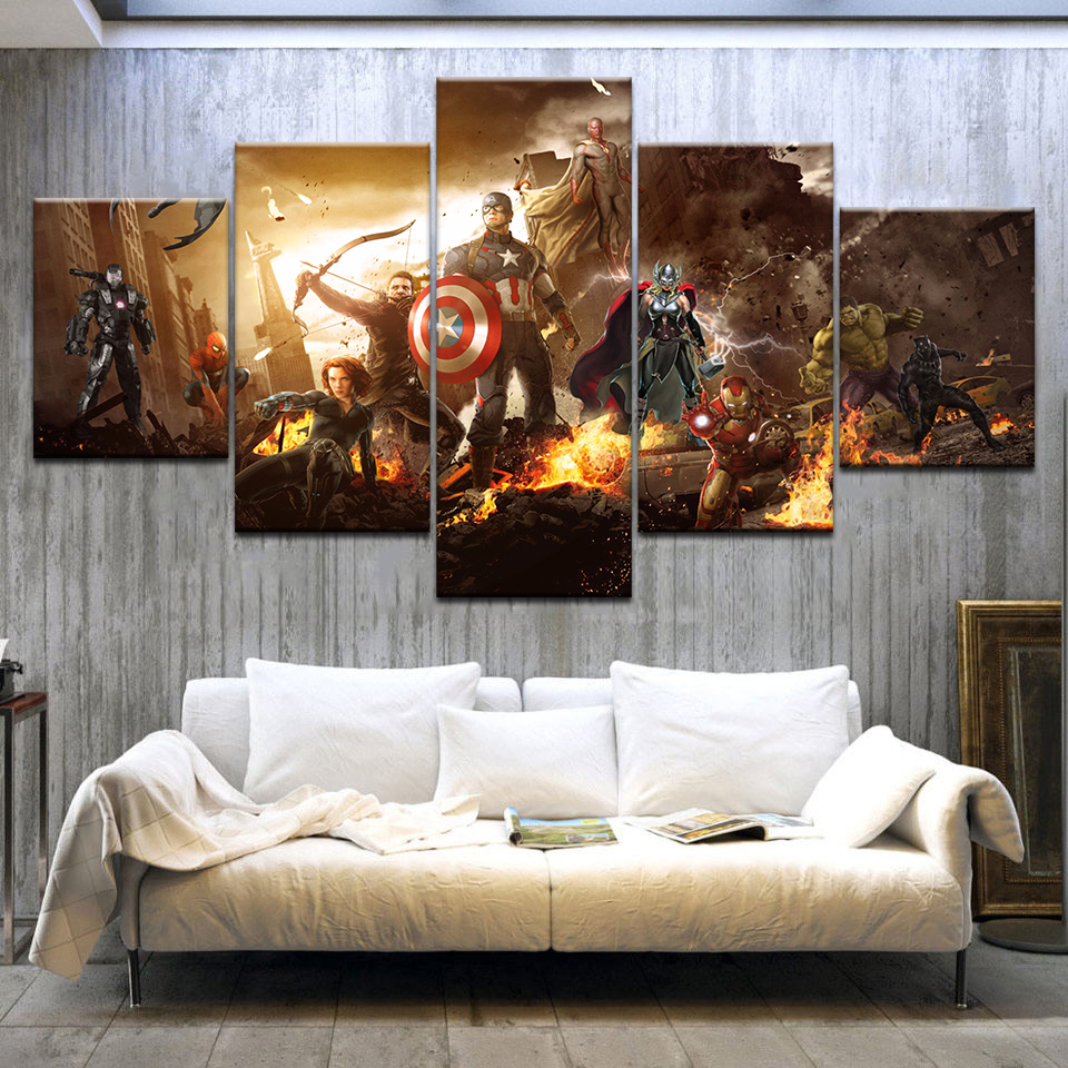 5 Piece Canvas Painting Movie superhero the Avengers Infinity War wall Art Kids room Bedroom Home Decor HD Mural Poster Pictures image