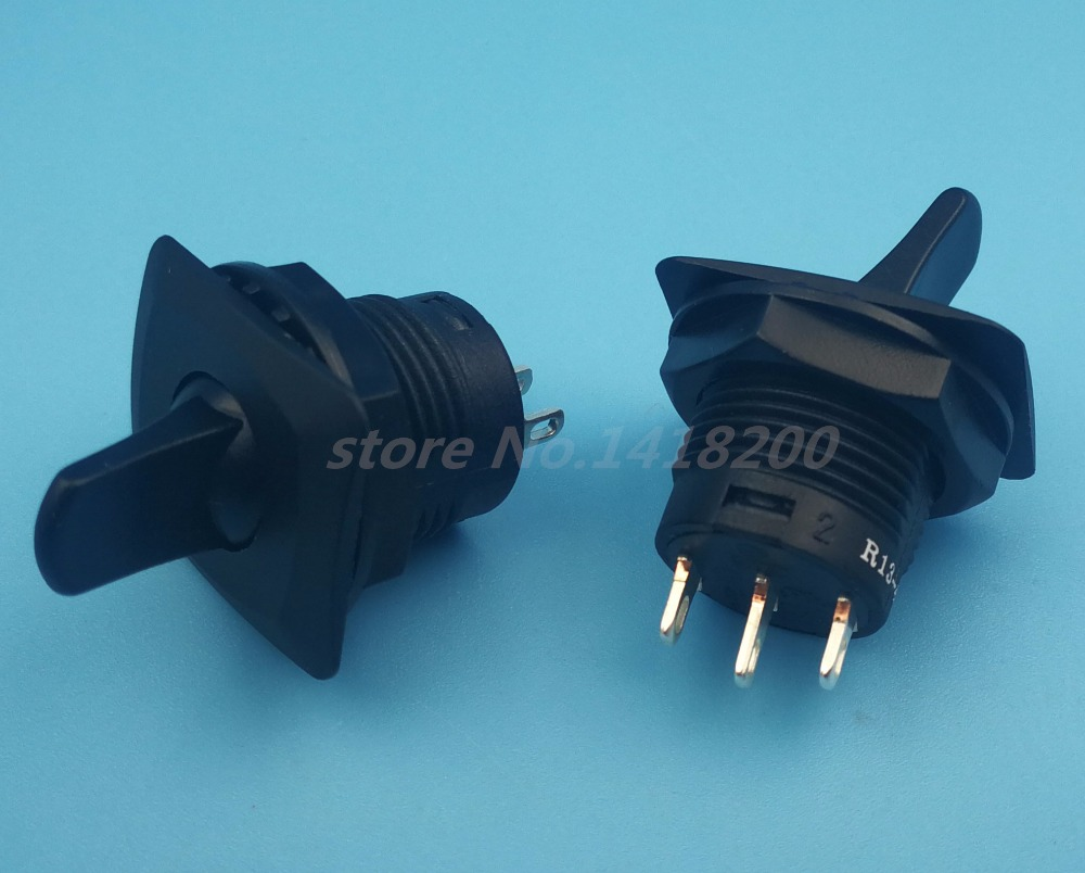 Free shipping 2Pcs Black Round  R13-402 ON-OFF-ON Maintained Toggle Switch 3Pin 3Position SPDT Panel Mount 5pcs lot high quality 2 pin snap in on off position snap boat button switch 12v 110v 250v t1405 p0 5