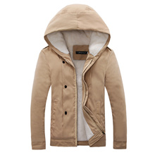 Cashmere and wool with winter warm jacket men's hooded cotton