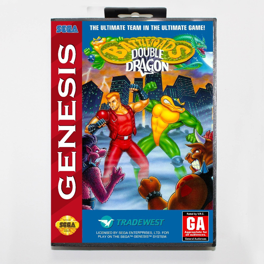Battletoads And Double Dragon  16 bit MD Game Card  With Box For Sega Megadrive/GenesisBattletoads And Double Dragon  16 bit MD Game Card  With Box For Sega Megadrive/Genesis