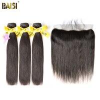 BAISI Haar Europäischen Reines Haar Gerade 100% Unverarbeitetes Menschenhaar 10-28 zoll, 3 Bundles und 13x4 Frontal, freies Verschiffen