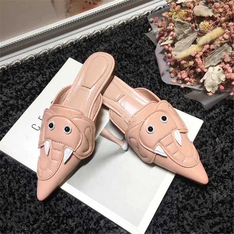 Bout Tous Nouvelle Extérieurs D'été Vêtements Pink Individuels Assortie Mules Pantoufles Femmes Rose Mode Point Éléphant Chaussures Plat F1zwHfqBw