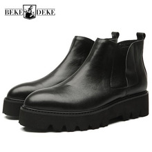 Winter Fleece Lining Mens Creeper Ankle Boots Genuine Leather Thick Platform Slip On Safety Shoes Med Heels Biker Chelsea Boots