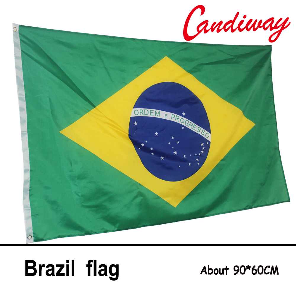 10pcs lot national flag country flag stick flags flag of the united - 90 X 60cm Brazil Brazilian Flag National Flags Home Decoration Brasil Flag Country Banner Indoor Outdoor
