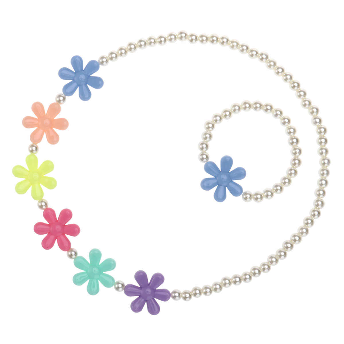 Fashion Girls Beaded Necklace Bracelet Lovely Children Snowflake Beads Jewelry Set for Kids Jewelry (Random Flower Color)