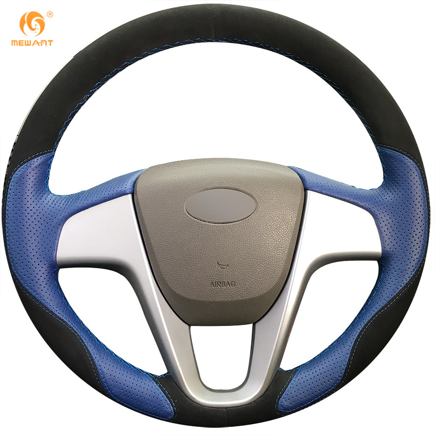 MEWANT Blue Leather Black Suede Car Steering Wheel Cover for Hyundai Solaris 2010-2016 Verna 2010-2016 i20 2009-2015 Accent