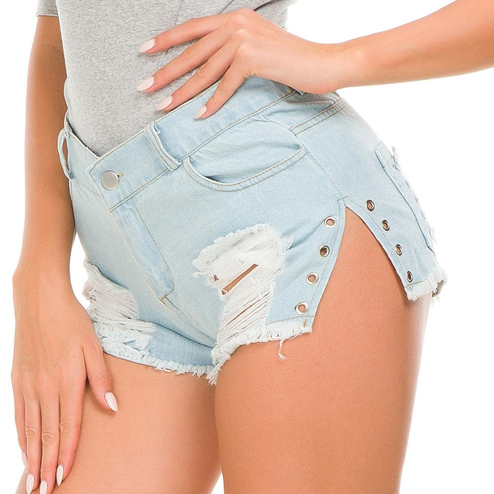 2019 Sexy Women Hole Destroyed Ripped High Waist Jeans skinny elastic Denim Shorts Hot New(China)