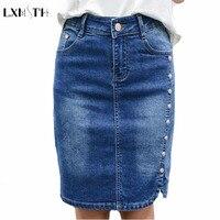 New Arrival Pencil Denim Skirt Women Plus Size Elegant Women S Mini Skirts 2017 Button Slim