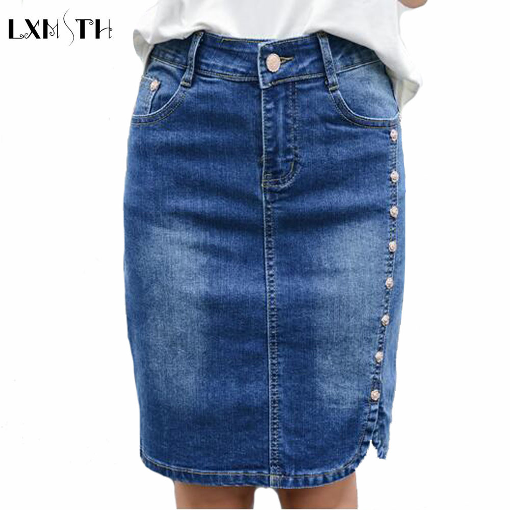 77a9d5a391 2019 Summer Pencil Denim Skirt Women Plus Size Elegant Women's Mini Skirts  2019 Buttons Slim High Waist jean Skirts For ladies