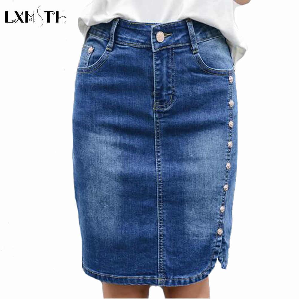 1480bcc3d43 Лето 2019 г. джинсовая юбка-карандаш для женщин  большие размеры Элегантные  мини юбки