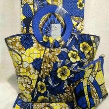 Estilo nigeriano Mujer Bolso Y bolsa de Tela De Algodón De Cera Cera 6 Yardas DF-429 Conjunto Precio Al Por Mayor El Envío Libre