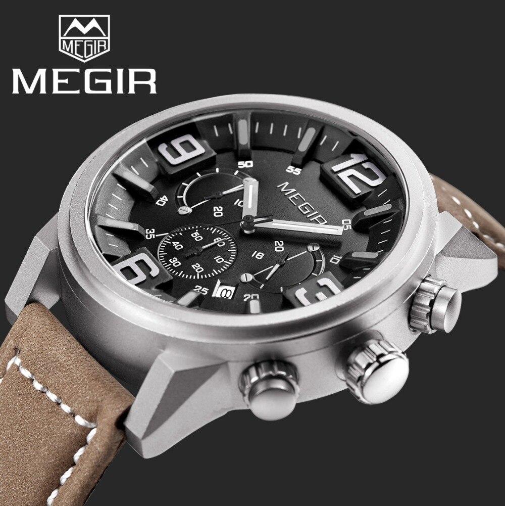 Prix pour 2016 Top marque de luxe MEGIR sport montres hommes Quartz chronographe grand cadran d'horloge bracelet en cuir montre relogio masculino relojes