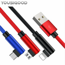 90 Degree USB Cable For iPhone X 8 7 6 Charging Charger Wire Cord Fast Micro USB Cable USB For Samsung S8 S9 Plus Type C Cable magnetic cable micro usb charger type c charging wire for iphone x xr 8 7 6 oneplus 6t samsung s9 s8 microusb cord mobile phone