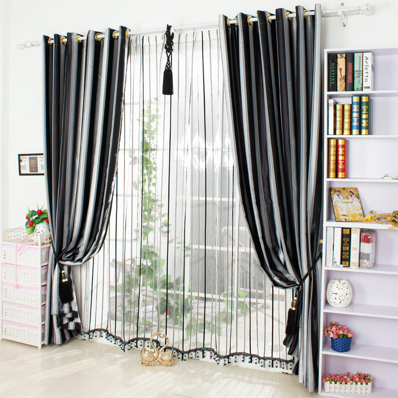Aliexpress Buy Black And White Vertical Stripe Window Blackout Curtains For Living Room Bedding Decorative Drapes Cortinas Para Sala From