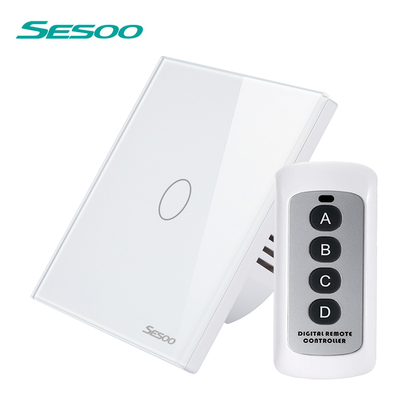 SESOO Light Touch Switch with Remote Control 1 Gang 1 Way Wireless Remote Light Switch Waterproof Glass Panel Light Switches