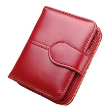 KANDRA Women Small Wallet Fashion Hasp PU Leather Lady Snap Fastener Short Clutch Card Holder Female Zipper Coin Purses