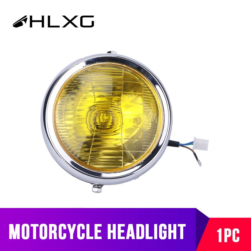 1PC Motorcycle Headlight Bulbs Vintage Round Scooter Motorbike farol moto Car Accessories faro motocicleta Yellow White hlxg 12V