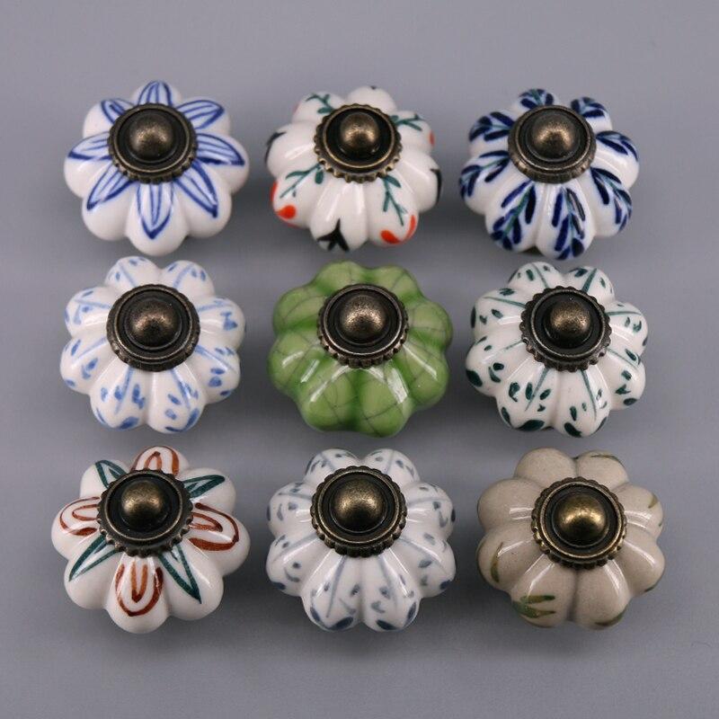 1 Pcs Durchmesser 33mm Hand Bemalt Floralen Keramik Tür Knöpfe Schrank Schrank Schrank Schublade Zieht Tür Griff Heißer Verkauf