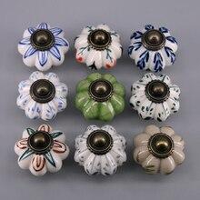 1PCS Dia 33mm Hand Painted Floral Ceramic Door Knobs Cupboard Wardrobe Cabinet Drawer Pulls Door handle Hot sale