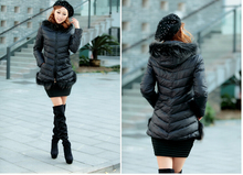 2016 new elegant fashion women keep warm winter down jacket long-sleeved pure color quality loose big yards coat D-0249
