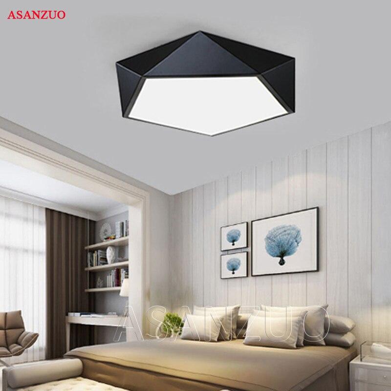 Ultrafinos Modern LED luzes de teto luminárias simples casa deco Quarto de jantar sala de estar lâmpada do teto de ferro preto branco pentágono