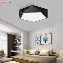 Ultrafinos modernas luzes de teto led simples casa deco luminárias quarto sala jantar ferro preto branco pentágono lâmpada do teto