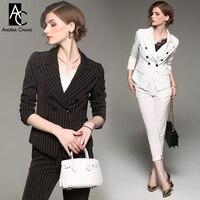 Spring Autumn Woman Outfit Black White Strip Pattern Blazer Pants Suit Two Piece Outfit Cotton Formal
