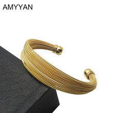 COYA New Fashion Stainless Steel Cuff Rose Gold Color Cuff Bracelet Set Unique Bracelets & Bangles Jewelry for Women A10009