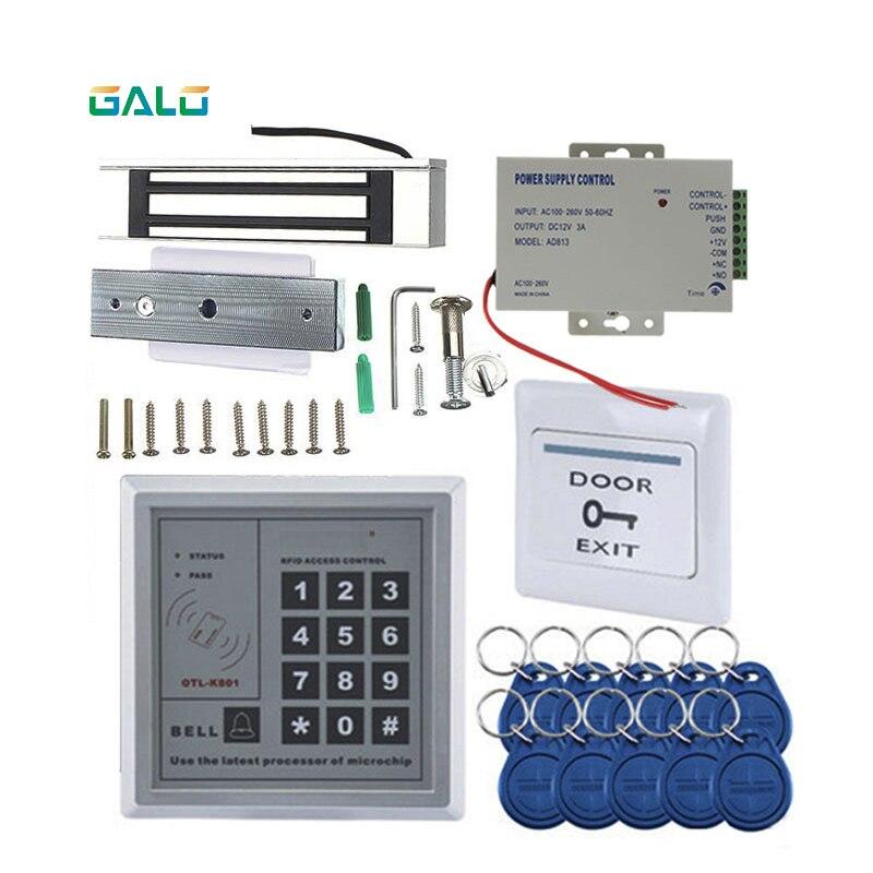 Kit de contrôle d'accès de porte en bois en verre RFID avec serrure magnétique de porte 180 kg + alimentation + clavier de proximité + porte-clés + bouton poussoir