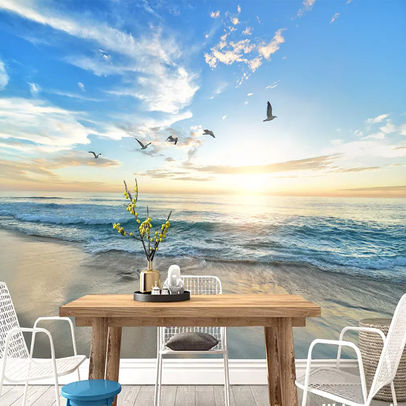 Custom Wall Cloth Seagull Blue Sky White Clouds Sea Mural Wallpaper For Living Room Background Wall Papers Walls 3D Home Decor