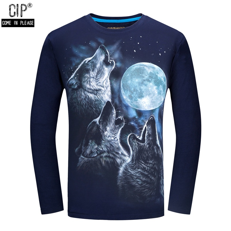a839e00a6 Fashion Brand Clothing New Arrival Swag Men Clothing Moon AND Wolves 3D Animal  Tshirts Hiphop Clothes Long Sleeve Tops & Tees-in T-Shirts from Men's ...