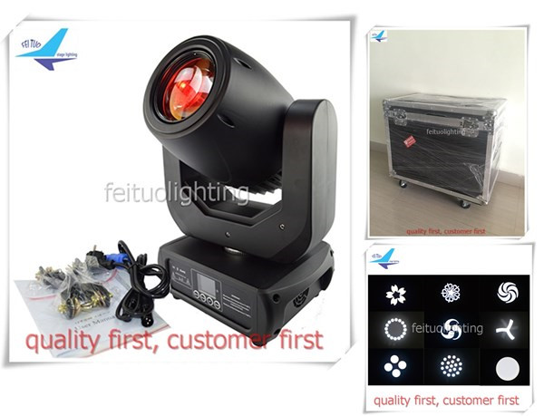 free shipping 2pcs/lot flycase China 150w Spot Moving Head Light LED Gobo 3 Prism Lights with Gobos DMX Sound Active Show Stage