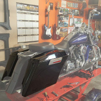 For Touring 5 Stretched Extended Hard Saddlebag Trunk Road King Electra Street Glide FLH FLT Motorcycle Saddle Bag 93 13