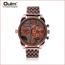 Oulm 9316 Stainless Steel Band Men Wristwatch Multi Time Zone Sport Watch Fashion Men's 2 movement Analog Watch